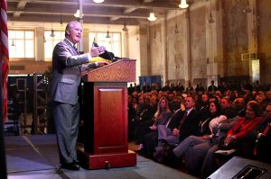 Buckhorn making his State of the City address inside the historic Kress Building. Photo credit to Skip O'Rourke, Tampa Bay Times.
